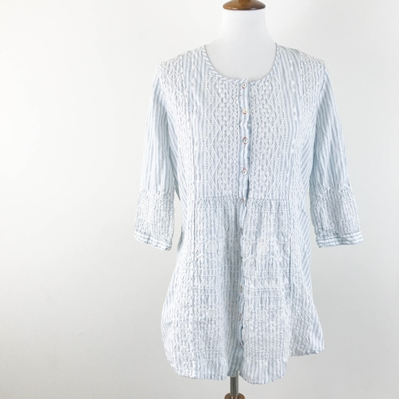 d521cd6812 Johnny Was Embroidered Tunic Top Small Striped